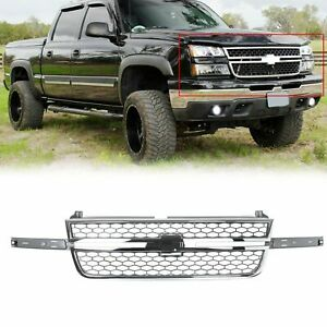Honeycomb Grille For 05 07 Chevy Silverado 1500 2500 3500 Pickup Chrome Gray
