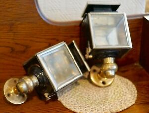 Pair Of Brass Carriage Buggy Candle Lamps Lanterns Lights Beveled Glasses