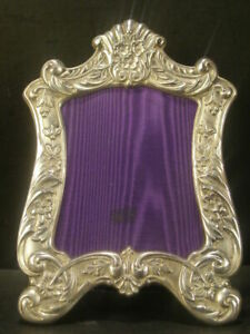 19 C Relief Flower Repousse Sterling Silver Picture Portrait Photo Frame Poole