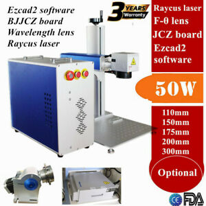 Us 50w Split Fiber Laser Marking Engraving Engraver Machine Rotary Axis Include