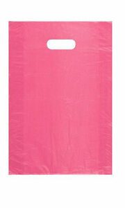 Pink Plastic Bags 1000 High Density Merchandise Retail Handles 12 X 3 X 18
