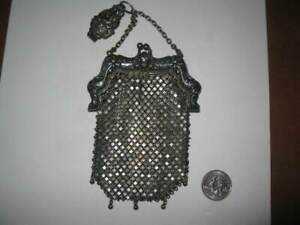 Antique Art Nouveau German Silver Chain Mesh Coin Purse Figural Chatelaine Clip