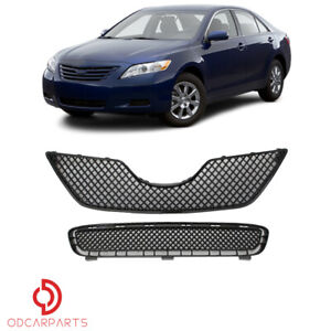 Fits Toyota Camry 2007 2008 2009 Front Upper Lower Grille Set Mesh Style Black