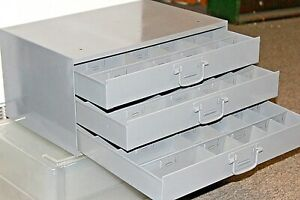 Restored Metal 3 Drawers 60 Compartments Storage Parts Fittings Nuts Garage