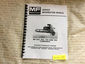 Massey Ferguson Mf 540 550 750 760 Combine Hydraulic Service Information Manual