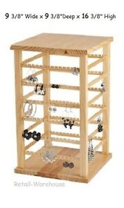 Wood Earring Display Rotating Spins Carded 168 Pair 9 3 8 w X 9 3 8 d X 16 3 8