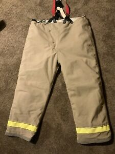 Globe 46 X 30 Firefighter Turnout Bunker Pants Suspenders Quilted Nomex
