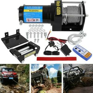 Electric Winch 4500lbs 12v Synthetic Rope 4wd Atv Utv Towing Offroad Kits W Hook