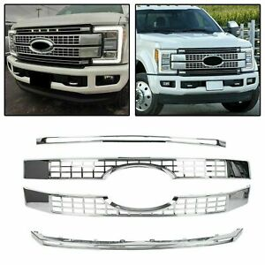 For 17 19 Ford F250 F350 F450 F550 Super Duty Chrome Platinum Style Grille Cover