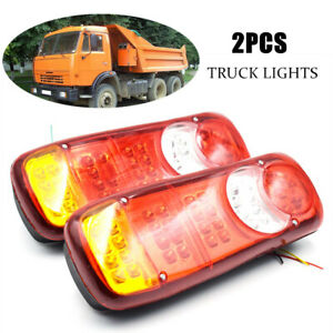 2pcs 12v Led Car Truck Trailer Boat Tail Light Rear Stop Indicator Reverse Light