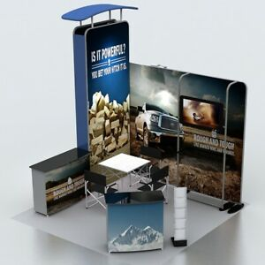 10ft Portable Custom Fabric Trade Show Display Booth Set With Counter Lights