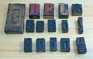 Vintage Wood Letterpress Print Blocks Type Punctuation Lot Of 15 Largest Is 5