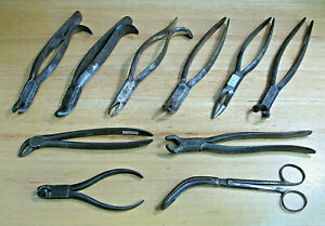 Vintage Used Medical Surgical Instruments Lot Of 10 Doctor Dentist Surgeon Tools