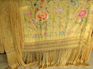 Antique Art Deco Embroidered Silk 20 Fringe Piano Shawl Table Chinese Canton 99
