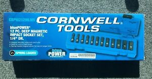 Cornwell Bluepower 1 4 Dr 12 Pc Deep Metric Magnetic Impact Sockets