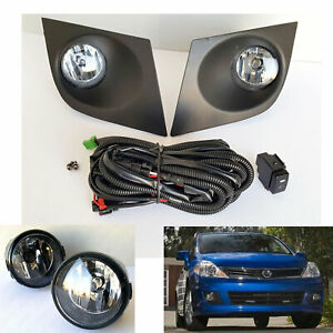 Front Driving Fog Light Kit Fit 07 11 Nissan Versa Clear Lens Bezel Wire Switch