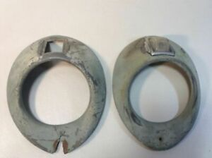 Vintage Pair Of 1940 S Teardrop Head Light Bezels With Built In Turn Signal E4