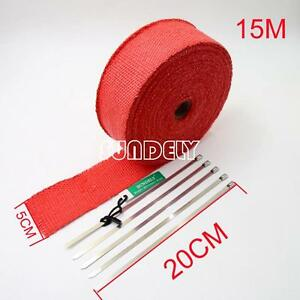New Red Car Exhaust Header Heat Pipe Wrap Tape Turbo 15m X 50mm 5 Stainless Ties