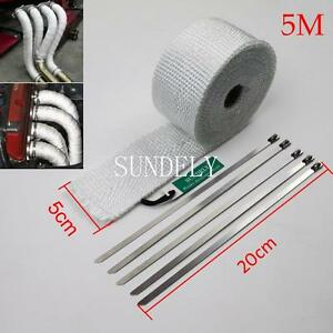 Us 5m High Heat Insulation Fiberglass Wrap Exhaust Header Pipe Tape Cloth White