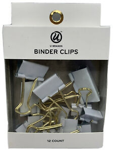 White Gold Binder Clips Mixed Sizes 12 Ct Home Office Supplies