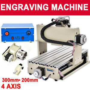 4 Axis Cnc Router 3020 Engraving Machine Woodworking Milling 3d Cutter 300w Dhl
