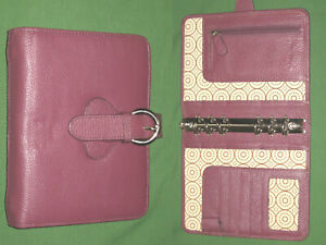 Compact 1 0 Red Leather Franklin Covey Planner Open Binder Organizer 2230