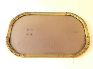 Gilt Ornate Picture Frame Curved Bubble Glass Floral Antique Oval 15 75x9 75