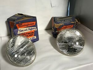 Vintage New Old Stock Pair Westinghouse 6006 6 Volt Headlamp Lights