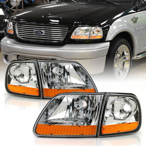 harley Davidson Style Headlight Corner Lamp L r For 97 03 Ford F150 expedition