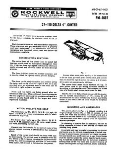 Rockwell Delta 37 110 4 Jointer Instruction Operator Maint Manual Pm 1697