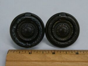 2 Vintage Dainty Brass Plated Knobs Drawer Ring Pulls Single Screw S 6933