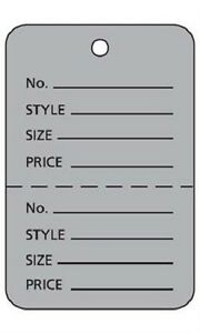 Perforated Tags Price 1000 Sale 1 W X 2 H Two Part Grey Coupon Unstrung