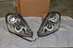 Led Chrome Halo Projector Head Lights For 00 05 Eclipse 10hla1401lwt