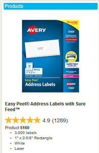 Avery 5160 White Easy Peel Address Labels 1 X 2 5 8 93 Sheets