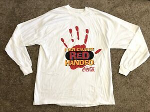 VTG Hanes COCA COLA T-Shirt I Got Caught Red Handed Size XXL Made in USA Vintage