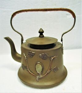Ca 1920 S Signed Hand Made Brass Copper Chinese Tea Kettle Soapstone Cabs