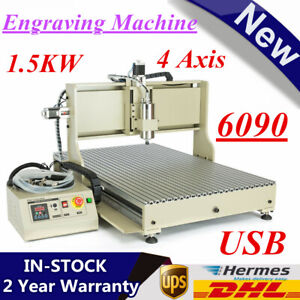 Usb 4axis 1 5kw 6090cnc Router Engraver Mill drill Woodworking Machine 3d Cutter