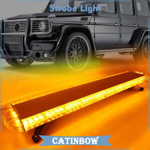 72 Led Amber Yellow Strobe Light Bar Car Emergency Beacon Warning Roof Top Lamp