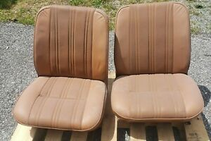 Fj40 Front Bucket Seats Toyota Land Cruiser 9 72 1978 Leather Brown