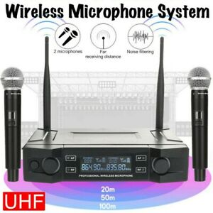 Professional 2 Channel UHF Wireless Dual Microphone Cordless Handheld Mic System $39.99