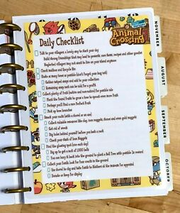 Animal Crossing Daily Checklist Two Sided Dashboard For Use With Happy Planner