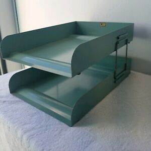 Vintage Green Flash Filing Two Tier Metal Organizer In Out Paper Letter Tray