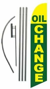Oil Change Advertising Feather Banner Swooper Flag Sign With Flag Pole Kit