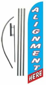 Alignment Here Auto Shop Advertising Feather Banner Swooper Flag Set With 15