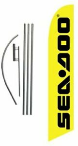 Seadoo Advertising Feather Banner Swooper Flag Sign With Flag Pole Kit And