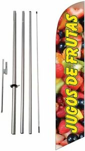Jugos De Frutas Spanish Advertising Feather Banner Swooper Flag Sign With
