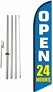 Open 24 Hours blue 15ft Feather Banner Swooper Flag Kit Includes 15ft
