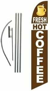 Fresh Hot Coffee Advertising Feather Banner Swooper Flag Sign With Flag Pole
