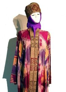 Antique Uzbek Bukhara Wedding Silk Ikat Dress