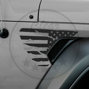 Fits Jeep Wrangler Jl 2018 2021 Fender Vent Distress American Flag Decal Sticker